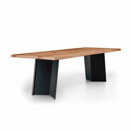 Mesa de comedor de diseño con tablero de roble anudado Made in Italy - Simeone