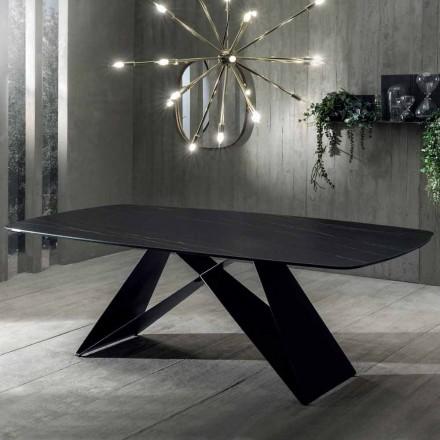 Mesa de Comedor de Diseño en Cerámica Efecto Portoro y Metal Opaco - Falcon