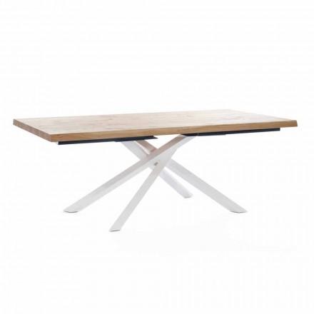 Mesa de comedor de diseño en madera y metal Made in Italy - Skipper