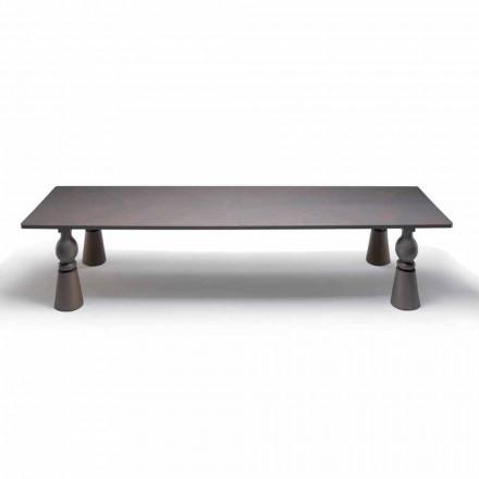 Mesa de comedor de diseño en madera de roble gris, hecha en Italia, Teseo