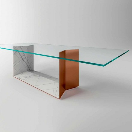 Mesa de comedor de vidrio con base de metal y mármol Made in Italy - Minera