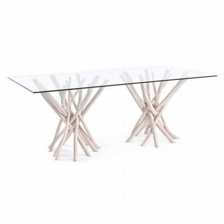 Mesa de comedor de diseño en vidrio y teca blanqueada Homemotion - Francia