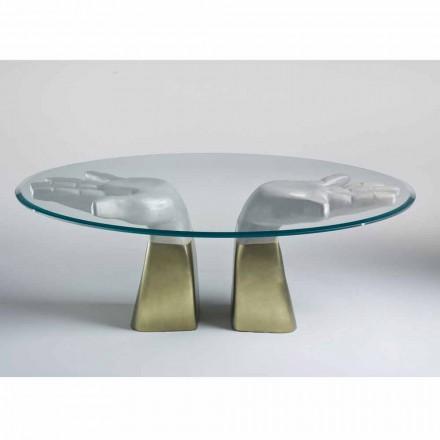 Mesa de comedor de madera con tapa de cristal, hecha en Italia, Bartolo