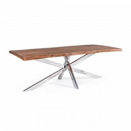 Mesa de comedor de acero inoxidable y madera Homemotion Design - Kaily