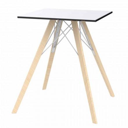 Mesa de comedor cuadrada de diseño de madera y Hpl, 4 piezas - Faz Wood by Vondom