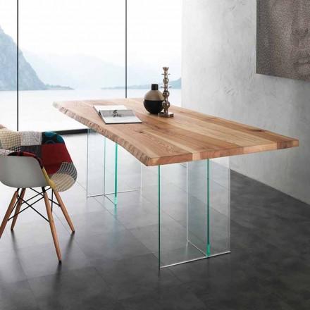 Mesa de diseño de madera maciza y vidrio templado modelo Marlon