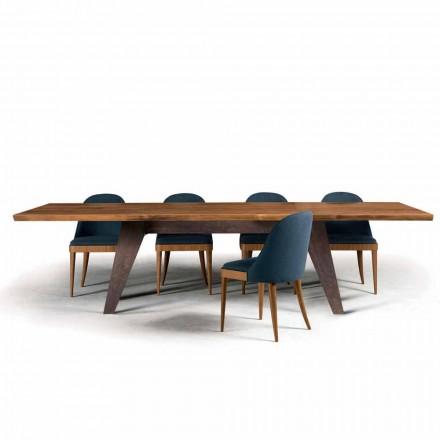 Mesa de comedor de madera descortezada natural de nogal, Antonio