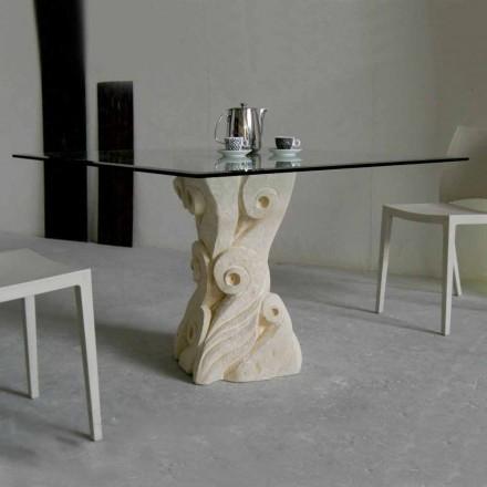 Mesa de piedra de Vicenza y cristal esculpida a mano Giasone