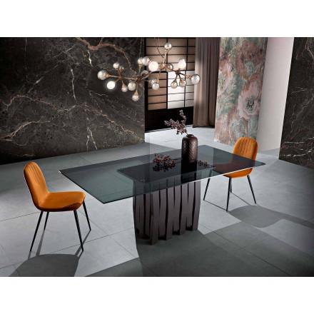 Mesa de comedor en vidrio y madera maciza hecha en Italia, Egisto.