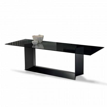 Mesa de comedor en vidrio ahumado o extraligero y metal hecho en Italia - Moro