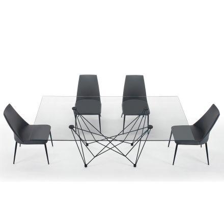 Mesa de Comedor en Vidrio Templado y Acero Negro Hecho en Italia - Ezzellino