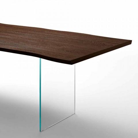 Mesa de comedor moderna 100x200cm en madera con patas de cristal Flora