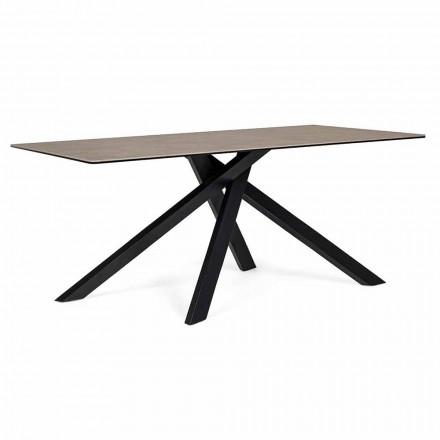 Mesa de comedor moderna con tapa de cristal y cerámica Homemotion - Ringo