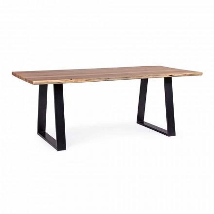 Mesa de comedor industrial Homemotion con tablero de madera de acacia - Vermont