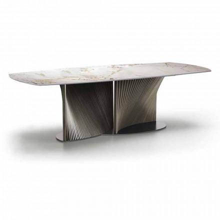 Mesa de comedor de lujo en gres y madera de fresno Made in Italy - Croma
