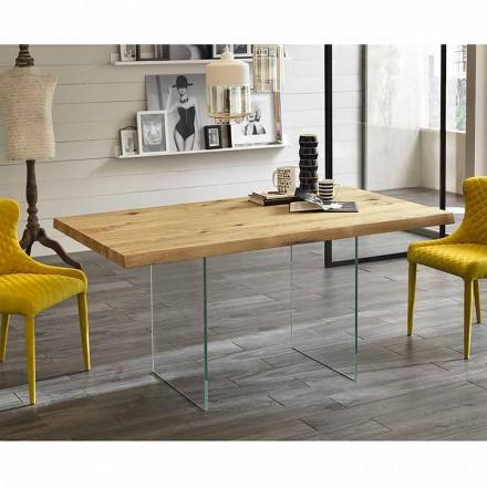 Mesa de comedor moderna en chapa de roble, patas de vidrio Nico