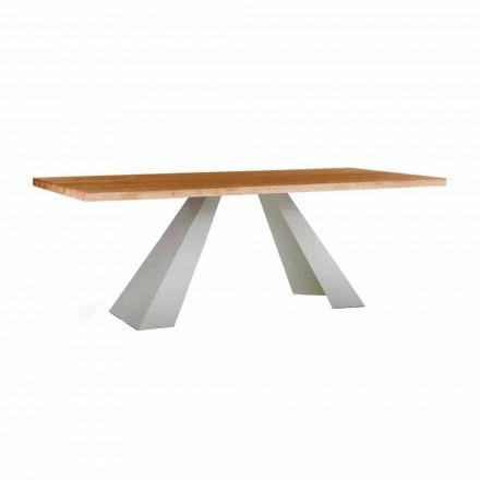 Mesa de comedor en madera y metal blanco, alta calidad Made in Italy - Miuca