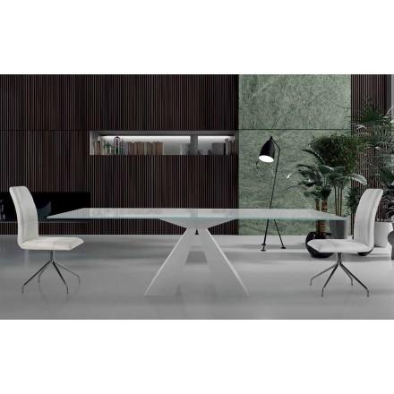 Mesa de comedor moderna en acero blanco y vidrio Made in Italy - Dalmata