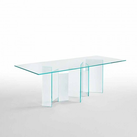 Mesa de comedor moderna en vidrio extralight o ahumado Made in Italy - Random