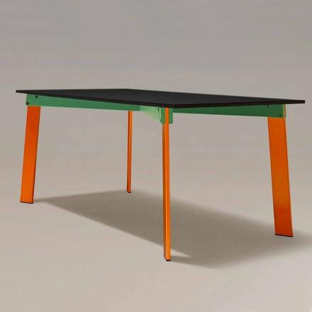 Mesa de comedor moderna con tapa de madera y base de acero Made in Italy - Aronte
