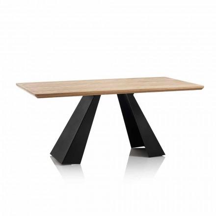 Mesa de comedor rectangular moderna con tapa en Mdf color roble - Volo