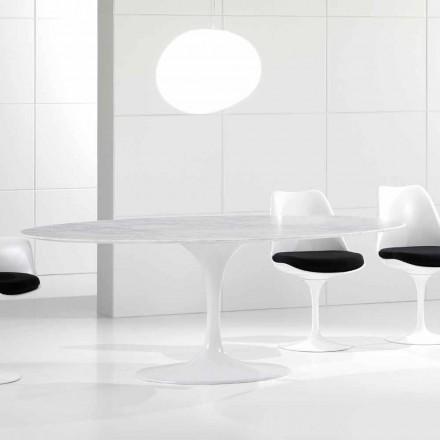 Mesa de comedor ovalada de lujo, sobre de mármol de Carrara, Made in Italy - Nerone