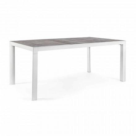 Mesa de comedor al aire libre con tapa de cerámica y base de aluminio - Jen