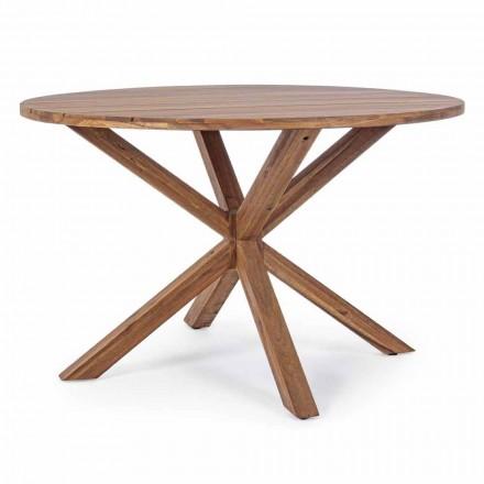 Mesa de comedor al aire libre con tapa redonda de madera de acacia - Perry