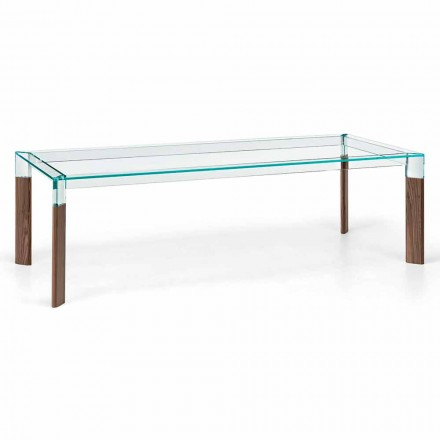 Mesa de comedor de vidrio y base de madera maciza Made in Italy - Presino