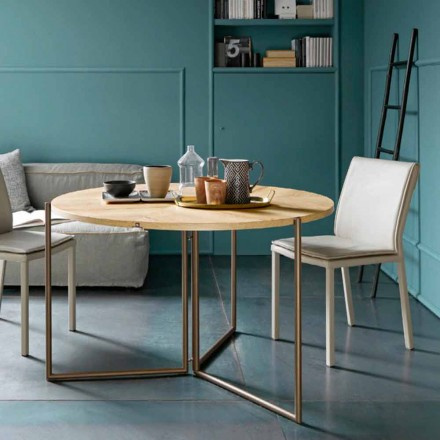 Mesa de comedor plegable moderna en madera y metal Made in Italy - Menelao