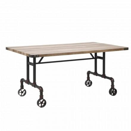 Mesa de comedor de diseño rectangular, sobre de MDF y base de metal - Fabrice
