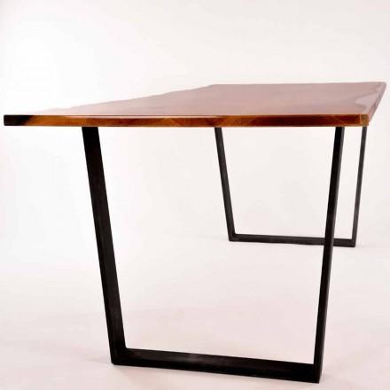 Mesa de comedor de diseño rectangular de madera hecha en Italia Rino