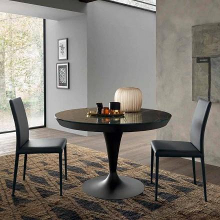 Mesa de comedor extensible redonda en cerámica Laminam Made in Italy - Lupetto
