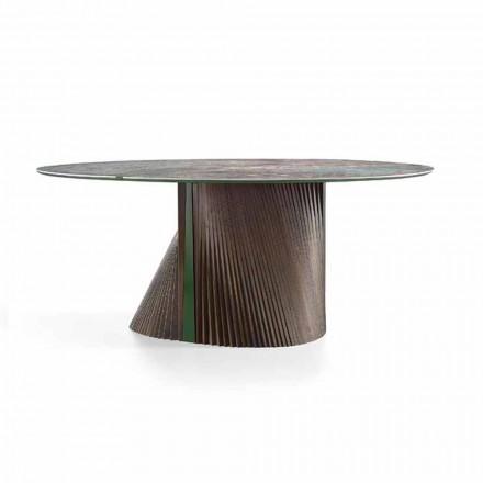 Mesa de comedor redonda de lujo en gres pulido y madera Made in Italy - Madame