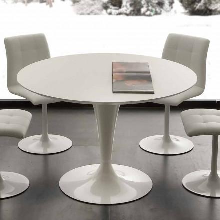 Topeka mesa de comedor redonda blanca, diseño moderno