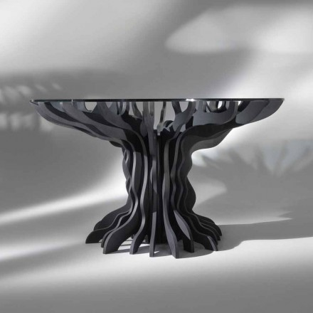 Cassia mesa redonda de comedor, piano de madera de color negro y tapa de cristal