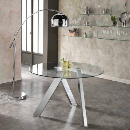 Mesa de comedor redonda con tablero de cristal modelo Adamo