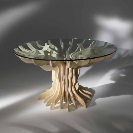 comedor redonda mesa de madera con cristal templado Dalia