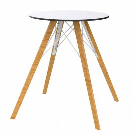 Mesa de comedor redonda de madera y tablero de Hpl, 4 piezas - Faz Wood by Vondom
