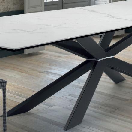 Mesa de Cocina de Diseño en Mármol y Acero Negro Hecho en Italia - Grotta