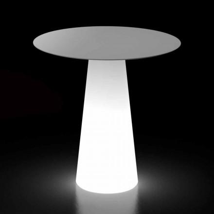 Mesa de luz para exterior con base de luz LED y tapa redonda Made in Italy - Forlina