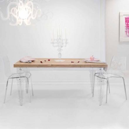 Mesa de diseño en madera de abeto y plexiglás, producida en Italia, Castro