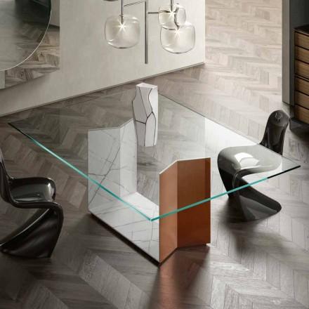Mesa de metal y mármol con tapa de cristal de lujo Made in Italy - Minera