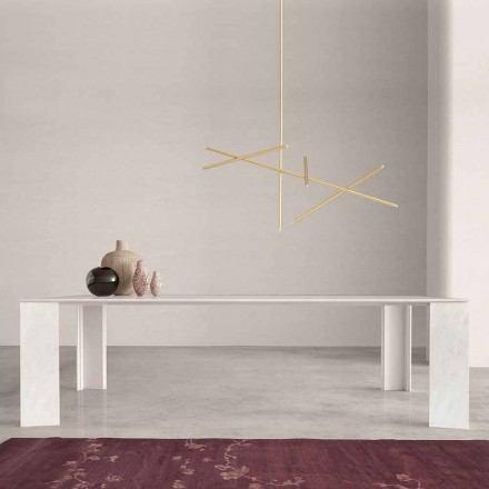 Mesa de diseño en mármol blanco de Namibia Made in Italy, 210x110 cm - Monastero