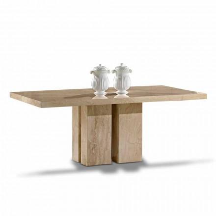 Mesa de lujo con diseño moderno, tablero de mármol Daino Made in Italy - Zarino