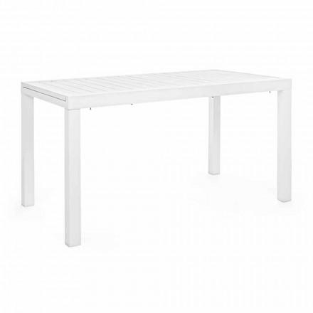 Mesa de jardín extensible de hasta 240 cm en aluminio blanco o de tórtola - Franz