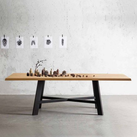Mesa de diseño fijo, con tapa de madera maciza - Crackle
