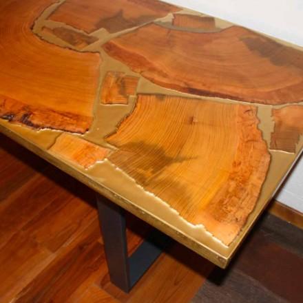 Mesa fija de diseño rectangular de madera y resina hecha en Italia Jam