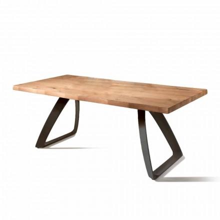Mesa fija de madera de roble y base de metal negra Logan