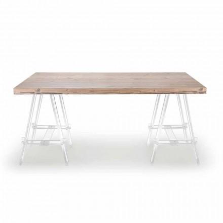Mesa de madera con caballetes en plexiglás Made in Italy - Caballete